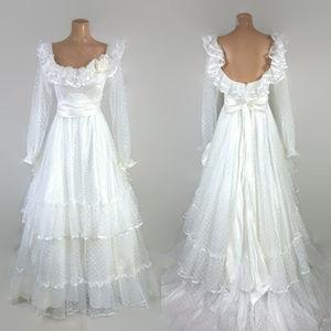 VINTAGE 1970s Bohemian Prairie Wedding Prom Dress
